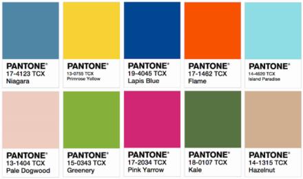 Paleta de cor Pantone 2017